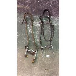 2 Used Headstalls With Bits