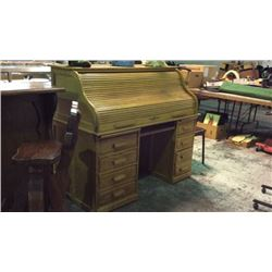54 inch Oak S Roll Top Desk
