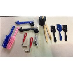 Lot of Horse Care Items and Brushes