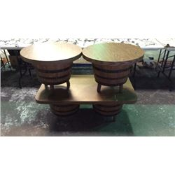 3pc Barrel Coffee and End Table Set