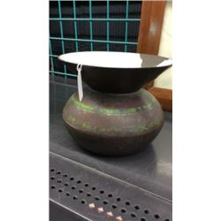 Green Banded Cast Iron Spittoon