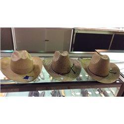 3 Straw Cowboy Hats