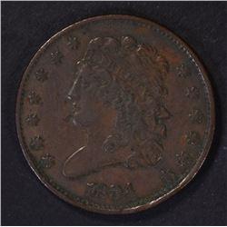 1834 HALF CENT, XF NICE!
