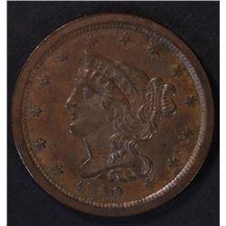 1850 HALF CENT, AU+