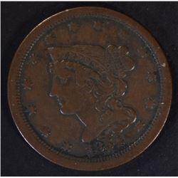 1854 HALF CENT, VF+ NICE