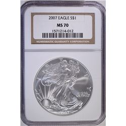 2007 AMERICAN SILVER EAGLE, NGC MS-70