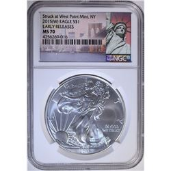 2015 (W) AMERICAN SILVER EAGLE, NGC MS-70