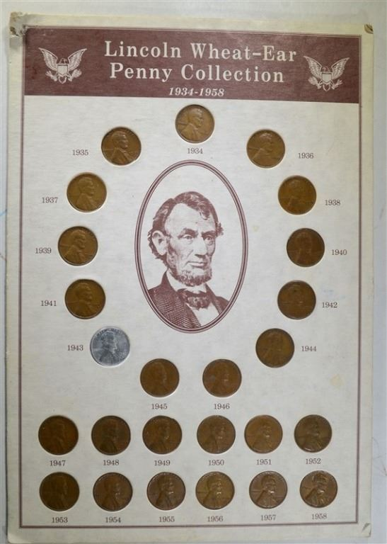 WHEAT CENT / PENNY LOT: 1909 to 1974 NEAR