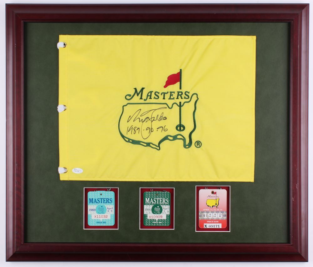 Nick Faldo Signed Masters 23x27 Custom Framed Pin Flag Display