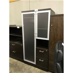 DARK WOOD 6' FROSTED GLASS PERSONAL STORAGE UNIT