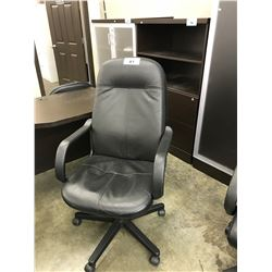 BLACK LEATHER HIGH BACK EXECUTIVE CHAIR