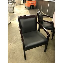 BLACK LEATHER MAHOGANY FRAMED CLIENT CHAIR
