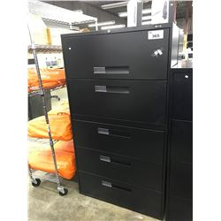 BLACK 5 DRAWER LATERAL FILE CABINET