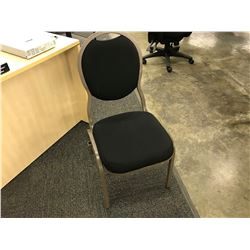 STACK OF 10 BLACK FABRIC AND BROWN METAL FRAME STACKING, GANGABLE BANQUET CHAIRS