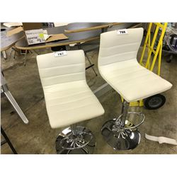 WHITE PNEUMATIC LIFT BAR STOOL