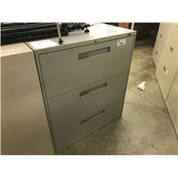 GREY 3 DRAWER LATERAL FILE CABINET