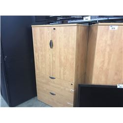 2 HONEY MAPLE 5.5' DOUBLE DOOR/LATERAL FILE CABINETS