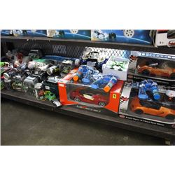 LARGE SHELF LOT OF RC TOYS, CARS, AND MORE