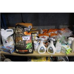 SHELF LOT OF HOUSEHOLD PRODUCTS INCLUDING PET FOOD, KITTY LITTER, AND MORE PET SUPPLIES