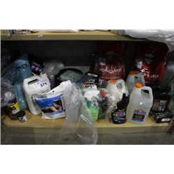 SHELF LOT OF HOUSEHOLD PRODUCTS INCLUDING POTTING SOIL, CAR PRODUCTS, PET PRODUCTS AND MORE
