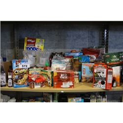 SHELF LOT OF FOOD INCLUDING PROTEIN BARS, CEREAL, PASTA AND MORE