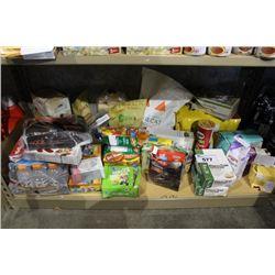 SHELF LOT OF FOOD - GATORADE, PROTEIN BARS, FLOUR AND MORE