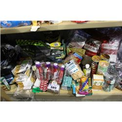 SHELF LOT OF FOOD - PROTEIN POWDER AND BARS, PRINGLES AND MORE