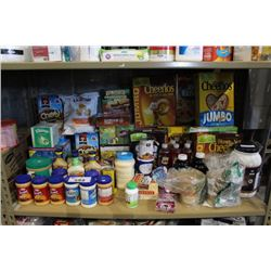 SHELF LOT OF FOOD - ALMOND MILK, PROTEIN POWDER, SAUCES AND MORE
