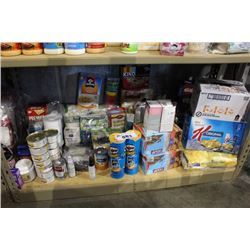 SHELF LOT OF FOOD - PET FOOD, CEREAL, PROTEIN BARS AND MORE