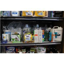 SHELF LOT OF HOUSEHOLD PRODUCTS INCLUDING LAUNDRY DETERGENT, TOILETRIES, AND CLEANING PRODUCTS