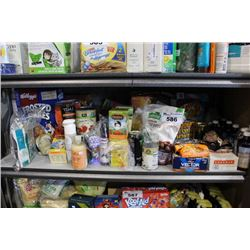 SHELF LOT OF FOOD - CEREAL, PROTEIN BARS, TEA AND MORE