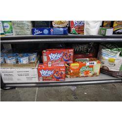 SHELF LOT OF FOOD INCLUDING PROTEIN POWDER, KOOL-AID, CEREAL, CHEF BOYARDEE RAVIOLI