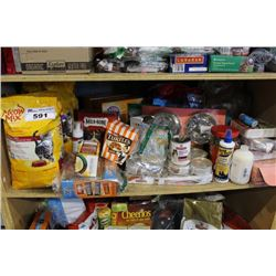 SHELF LOT OF HOUSEHOLD PRODUCTS INCLUDING PET FOOD, LITTER, PET DISHES, TREATS AND MORE
