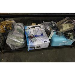 SHELF LOT INCLUDING HEATED CAR SEAT MASSAGER, BLANKETS AND MORE