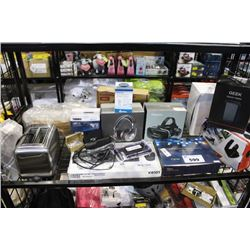 SHELF LOT OF ELECTRONICS INCLUDING HEADPHONES, VR GLASSES, ELECTRIC HEATER AND MORE