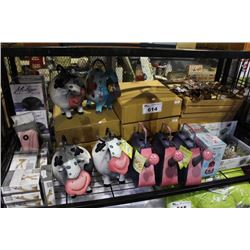 SHELF LOT INCLUDING DECORATIVE WATERING CANS, GARDEN CHIMES, HUMIDIFIERS, MYSTIQUE DIFFUSERS AND
