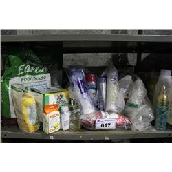 SHELF LOT OF HOUSEHOLD GOODS INCLUDING SOAP, FLOUR, PET TREATS, BODY WASH AND MORE