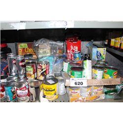 SHELF LOT INCLUDING CANNED GOODS (BEANS, SOUPS, DOG FOOD, CORN, POP)