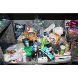 SHELF LOT INCLUDING SNACKS, BODY WASH, TOILETRIES, CLEANING PRODUCTS AND MORE