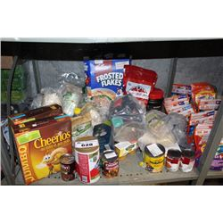 SHELF LOT INCLUDING CEREAL, FLOUR, CANNED GOODS, PROTEIN POWDER AND MORE