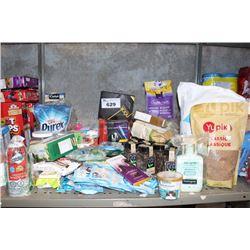 SHELF LOT INCLUDING PET FOOD, TEA, SNACKS AND MORE