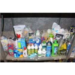 SHELF LOT INCLUDING CLEANING PRODUCTS, QUINOA, CAT LITTER AND MORE