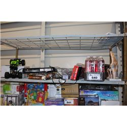 SHELF LOT INCLUDING JUICE, RC MONSTER TRUCK, CURLING IRONS AND MORE