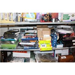 SHELF LOT INCLUDING TEXT BOOKS, PAPER, WIGS, AND MORE