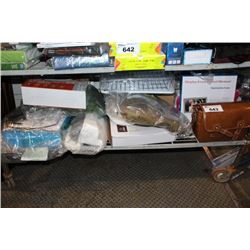 SHELF LOT INCLUDING BAGS, DIGITAL PHOTO FRAME, KITCHEN PRODUCTS AND MORE