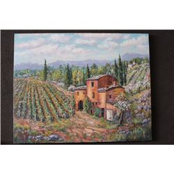 "ORIGINAL OIL PAINTING ON CANVAS SIGNED OTTO JEGODKA ""THE OLD VINEYARD"""