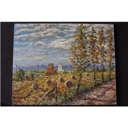 "ORIGINAL OIL PAINTING ON CANVAS SIGNED OTTO JEGODKA ""HARVEST TIME"""