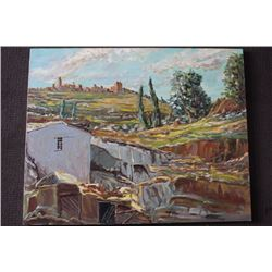 "ORIGINAL OIL PAINTING ON CANVAS SIGNED OTTO JEGODKA ""IN THE COUNTRY"""