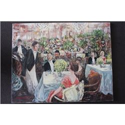 "ORIGINAL OIL PAINTING ON CANVAS SIGNED OTTO JEGODKA ""AT THE PARTY"""