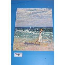 "ORIGINAL OIL PAINTING ON CANVAS SIGNED OTTO JEGODKA ""ON THE BEACH"""